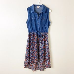 Floral Chambray Sleeveless Shirt Dress M #4167